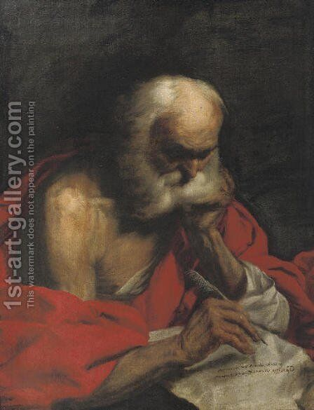 Saint Jerome writing a letter by (after) Francesco Fracanzano - Reproduction Oil Painting