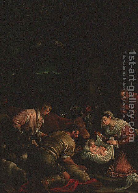 The Adoration of the Shepherds by (after) Francesco, II Bassano - Reproduction Oil Painting