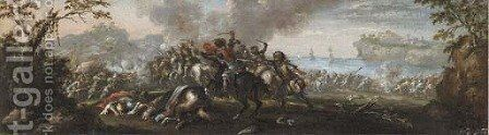 A cavalry battle by (after) Francesco Graziani, Called Ciccio Napoletano - Reproduction Oil Painting