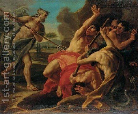 Neptune battling the Giants by (after) Francesco Maggiotto - Reproduction Oil Painting