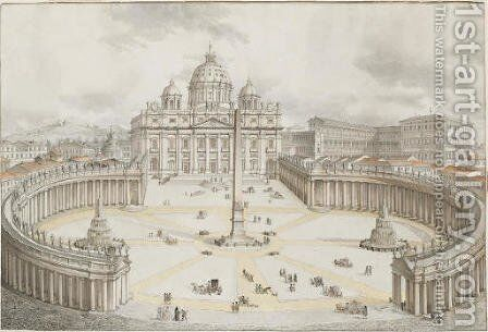 Rome View of the Piazza San Pietro with the Vatican by (after) Francesco Panini - Reproduction Oil Painting