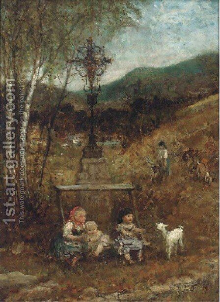 Children with a kid in a landscape by (after) Francesco Paolo Michetti - Reproduction Oil Painting