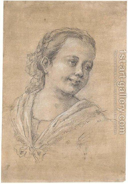 Portrait of a girl by (after) Francesco Zuccarelli - Reproduction Oil Painting