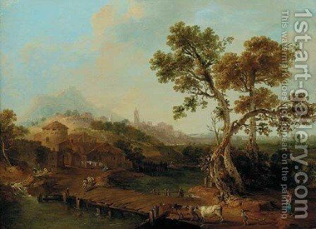 A river landscape with a shepherdess, a city beyond by (after) Francesco Zuccarelli - Reproduction Oil Painting