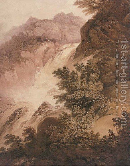 The waterfall by (after) Nicholson, F. - Reproduction Oil Painting