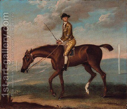 Mr. Lamego's Little Driver with jockey up, on a racecourse by (after)  J. Francis Sartorius - Reproduction Oil Painting