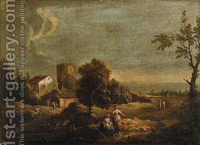 A landscape with peasants by a ruined tower by (after) Frans De Paula Ferg - Reproduction Oil Painting
