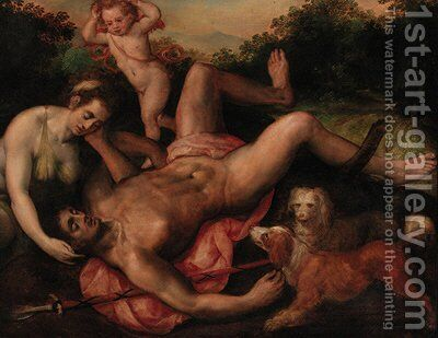 Venus and Adonis by (attr. to) Floris, Frans - Reproduction Oil Painting