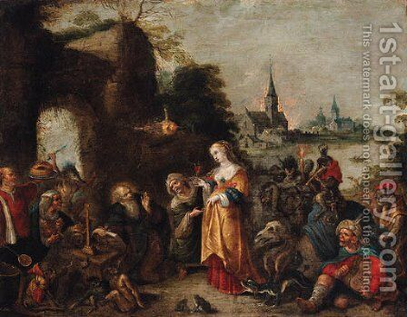 The Temptation of Saint Anthony by (after) Frans II Francken - Reproduction Oil Painting