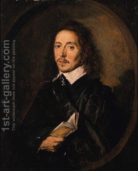 Portrait of a gentleman, half-length, in a black coat and collar, holding a book by (after) Frans Hals - Reproduction Oil Painting