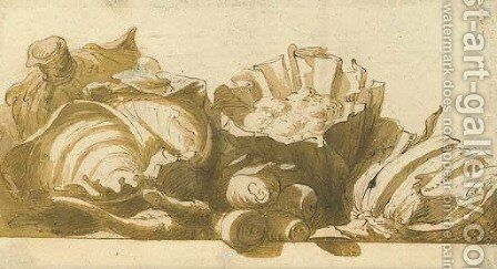 Cauliflowers, cabbages and turnips on a ledge by (after) Frans Snyders - Reproduction Oil Painting