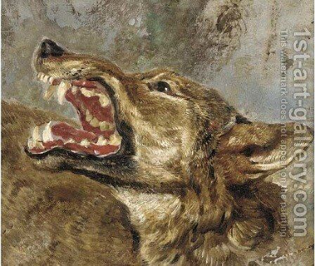The head of a wolf a study by (after) Frans Snyders - Reproduction Oil Painting
