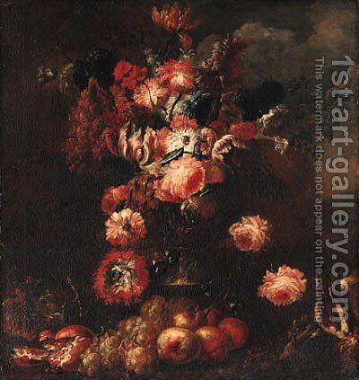 Parrot tulips, roses, carnations, pansies and other flowers in a vase by (after) Frans Werner Von Tamm - Reproduction Oil Painting