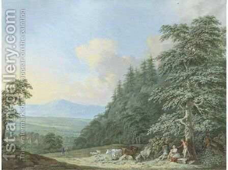 Cowherds resting on the edge of a wood, a mountainous landscape beyond by (after) Franz Ferdinand Richter - Reproduction Oil Painting