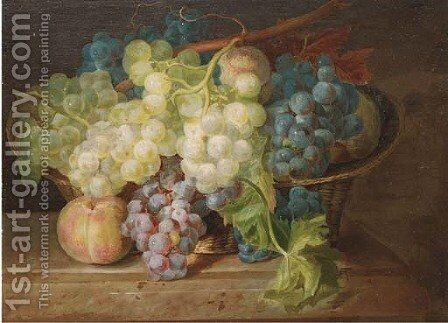 Grapes and peaches in a basket on a ledge by (after) Franz Xaver Petter - Reproduction Oil Painting