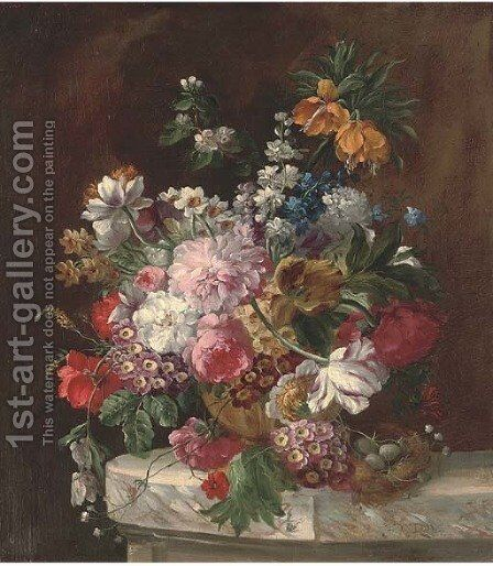Roses, tulips, chrysanthemums, narcissae and other summers blooms in an urn by a bird's nest on a marble ledge by (after) Franz Xaver Petter - Reproduction Oil Painting