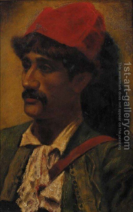 Portrait of a man in a red turban by (after) Goodall, Frederick - Reproduction Oil Painting