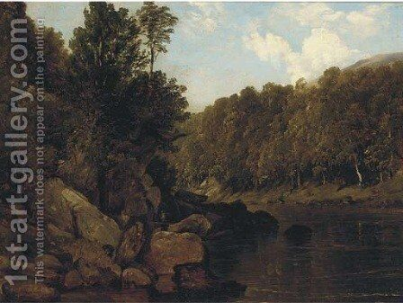 A tranquil stretch of the river by (after) Frederick Richard Lee - Reproduction Oil Painting