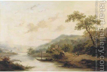 Ferry crossing in a hilly landscape by (after) Frederik Marianus Kruseman - Reproduction Oil Painting