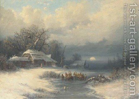 A Russian winter landscape by (after) Fedor Aleksandrovich Vasiliev - Reproduction Oil Painting