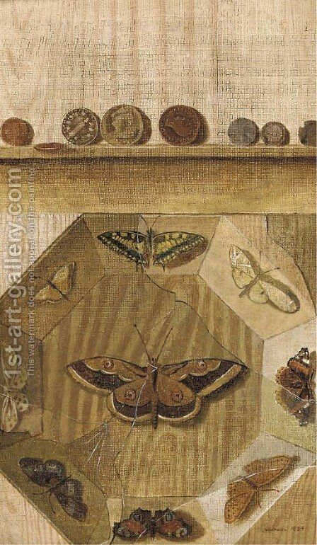 A trompe l'oeil of a butterfly display and coins on a ledge by (after) Gabriel-Germain Joncherie - Reproduction Oil Painting