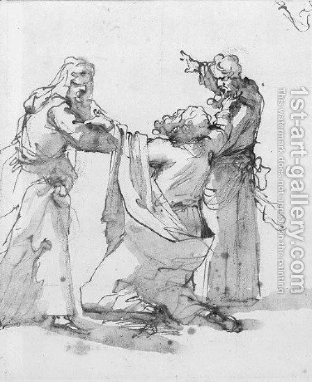 Aaron and Hur supporting Moses by the arms by (after) Gaetano Gandolfi - Reproduction Oil Painting
