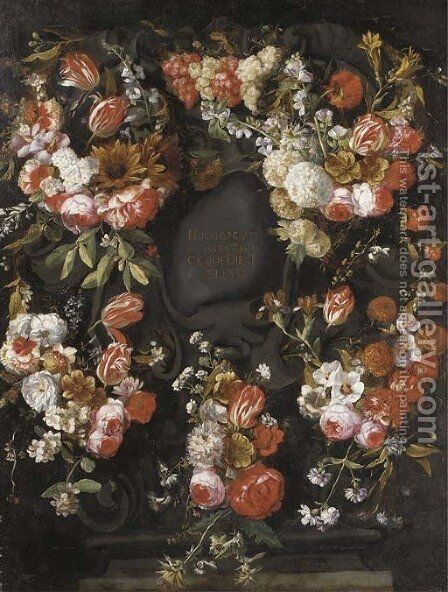 A garland of roses by (after) Caspar Pieter I Verbrugghen - Reproduction Oil Painting