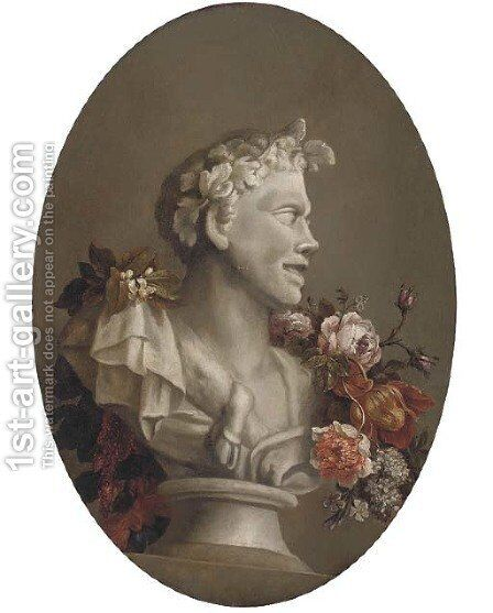 A bust of Pan adorned with a garland of flowers by (after) Gaspar-Pieter The Younger Verbruggen - Reproduction Oil Painting