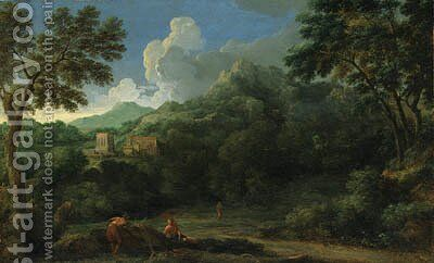 An Italianate Landscape with Figures, a village beyond by (after) Gaspard Dughet - Reproduction Oil Painting