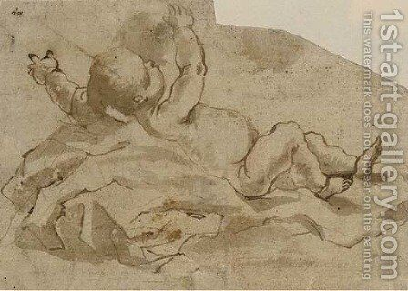 An infant lying among draperies by (after) Gaspare Diziani - Reproduction Oil Painting