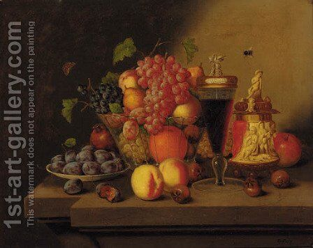 Grapes, oranges, peaches, pears and plums in a glass bowl by (after) Georg (Johann G.) Seitz - Reproduction Oil Painting