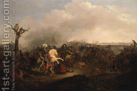 A Cavalry Skirmish by (after) Rugendas, Georg Philipp I - Reproduction Oil Painting