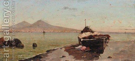 On the Neapolitan coast by (after) George Adolphus Storey - Reproduction Oil Painting