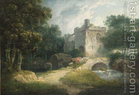 A drover with cattle crossing a bridge before a ruin by (after) George Arnald - Reproduction Oil Painting