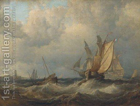 A Royal Naval two-decker backing her sails and making ready to enter port by (after) George Chambers - Reproduction Oil Painting