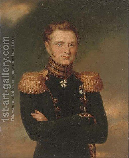 Portrait of Grand Duke Mikhail Pavlovich, waist length, in military dress by (after) Dawe, George - Reproduction Oil Painting