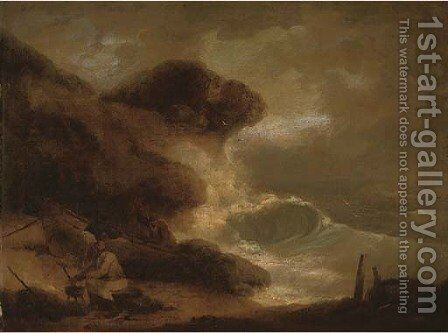 Fisherman cooking while others repair a boat in a storm by (after) George Morland - Reproduction Oil Painting