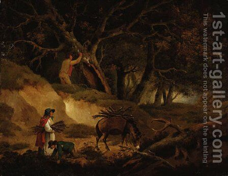 Gathering faggots by (after) George Morland - Reproduction Oil Painting