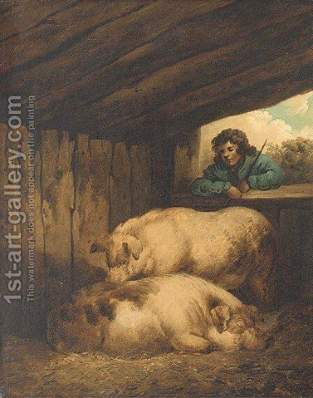 The pig sty by (after) George Morland - Reproduction Oil Painting