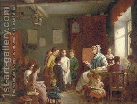 The reading lesson by (after) George Smith - Reproduction Oil Painting