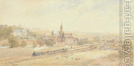 A steam engine pulling loaded wagons through the industrial North by (after) George Weatherill - Reproduction Oil Painting