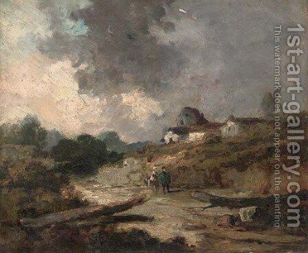 A walk through a village in Picardy by (after) Georges Michel - Reproduction Oil Painting