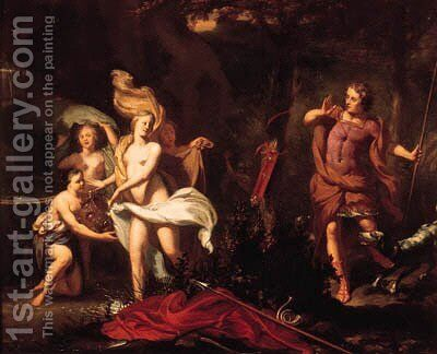 Diana and her nymphs surprised by Actaeon by (after) Gerard Hoet - Reproduction Oil Painting