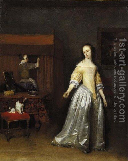 An elegant lady by (after) Gerard Terborch - Reproduction Oil Painting