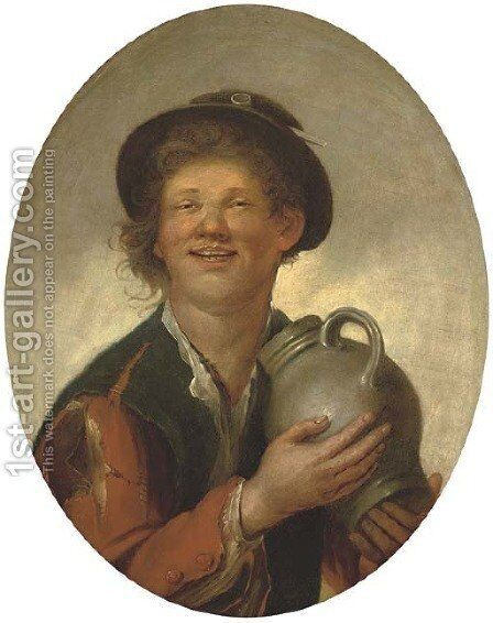 A peasant boy drinking, half-length by (after) Giacomo Francesco Cipper - Reproduction Oil Painting