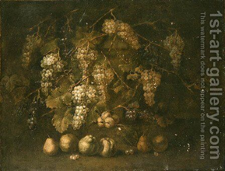 A Grapevine by a stone Plinth with Pears and Peaches on the Ground by (after) Gilardo Da Lodi - Reproduction Oil Painting