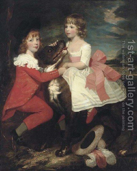 Portrait of two children with a dog by (after) Gilbert Stuart - Reproduction Oil Painting
