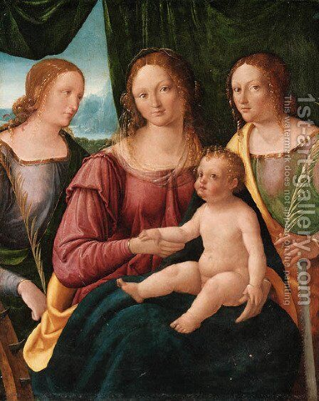 The Madonna and Child with Saint Catherine of Alexandria and another Saint by (after) Giovanni Agostino Da Lodi - Reproduction Oil Painting