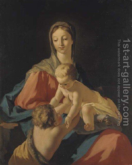 The Madonna and Child with the infant Saint John the Baptist by (after) Giovanni Antonio Pellegrini - Reproduction Oil Painting