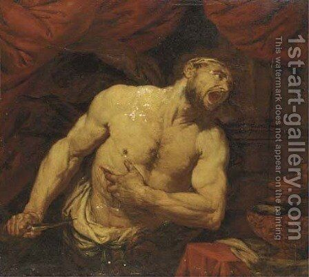 The Death of Cato by (after) Giovanni Battista Langetti - Reproduction Oil Painting